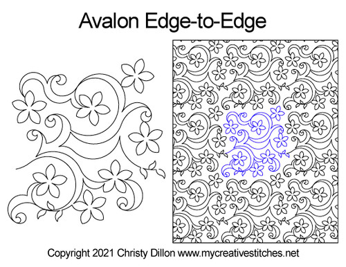 Avalon edge-to-edge quilt pattern