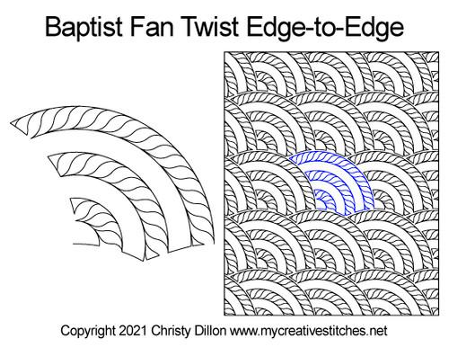 Baptist fan twist edge-to-edge quilt pattern