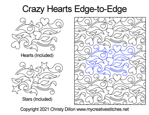 Crazy hearts edge-to-edge quilt pattern