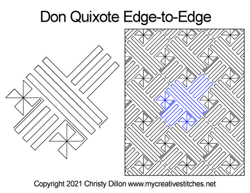 Don quixote edge-to-edge quilt pattern