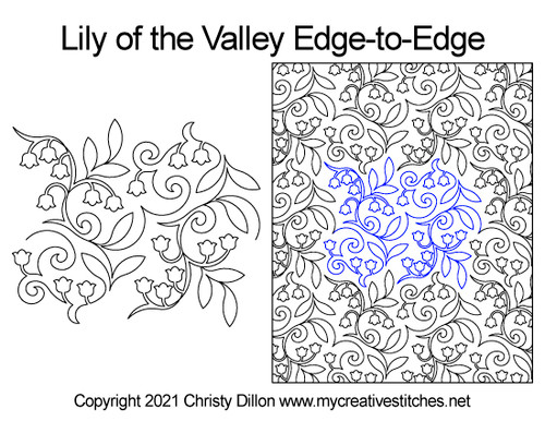 Lily of the valley edge-to-edge quilt pattern