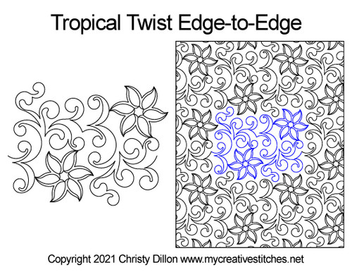 Tropical twist edge-to-edge quilt pattern