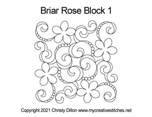 Briar rose block 1 quilt pattern