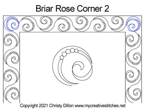 Briar rose border 2 corner quilt pattern