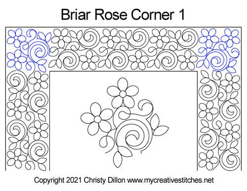 Briar rose border 1 corner quilt pattern