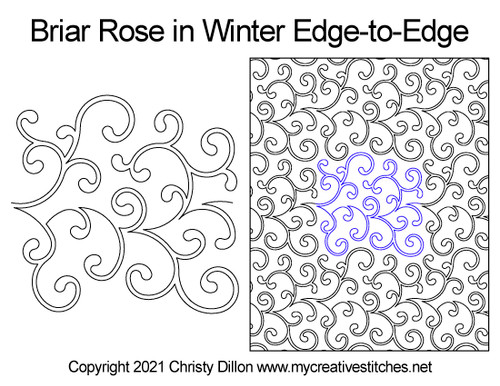 Briar rose in winter edge-to-edge quilt pattern