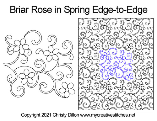 Briar rose in spring edge-to-edge quilt pattern