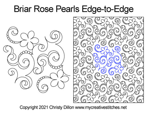 Briar rose pearls edge-to-edge quilt pattern