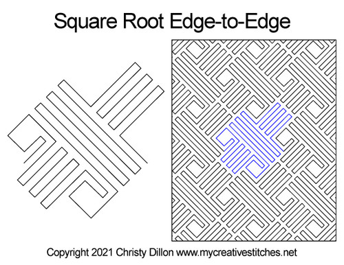 Square root edge-to-edge quilt pattern
