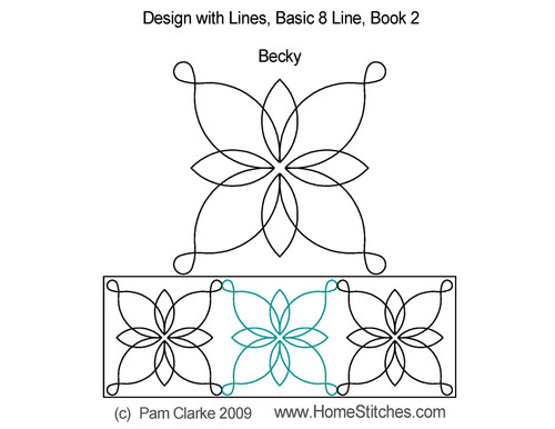 Becky 8 line digitized quilting pattern