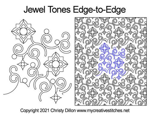 jewel tones edge-to-edge quilt pattern
