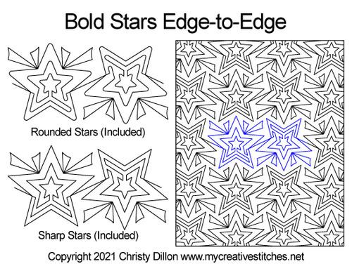 Bold stars edge-to-edge quilt pattern