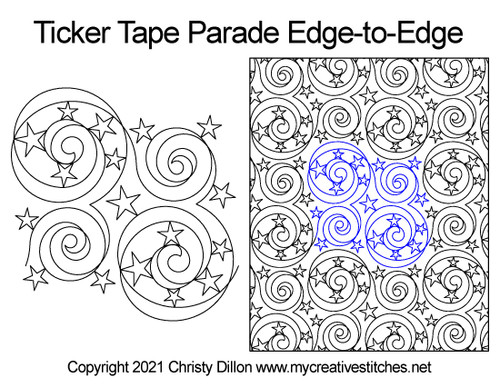 Ticker tape parade edge-to-edge quilt pattern