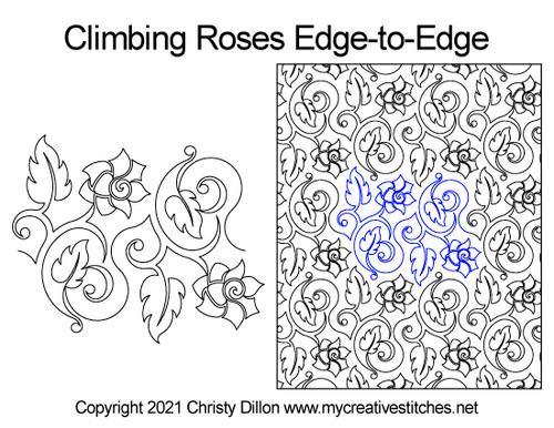 Climbing roses edge-to-edge quilt pattern
