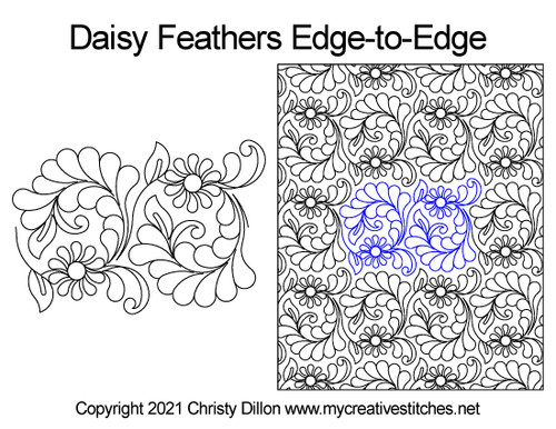 Daisy feathers edge-to-edge quilt pattern
