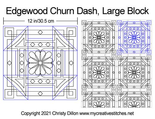 Edgewood churn dash large block quilting pattern