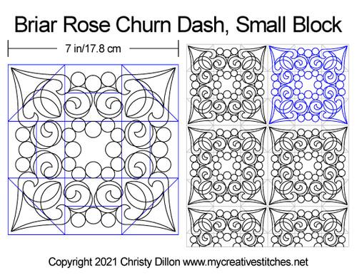 Briar rose small churn dash block quilt pattern