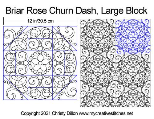 Briar rose churn dash large block quilting pattern
