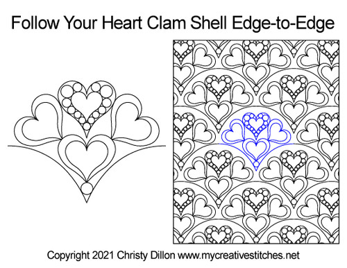 Follow your heart clam shell edge-to-edge quilting pattern