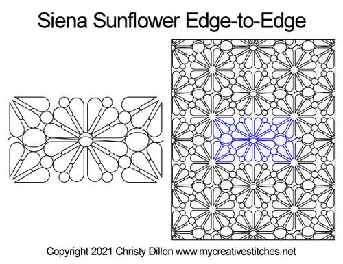 Siena sunflower edge-to-edge digital quilt pattern