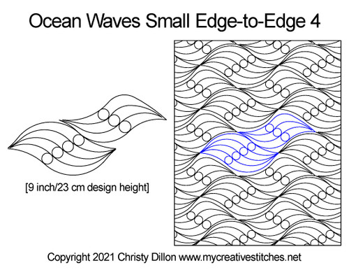 Ocean waves small edge-to-edge quilt pattern