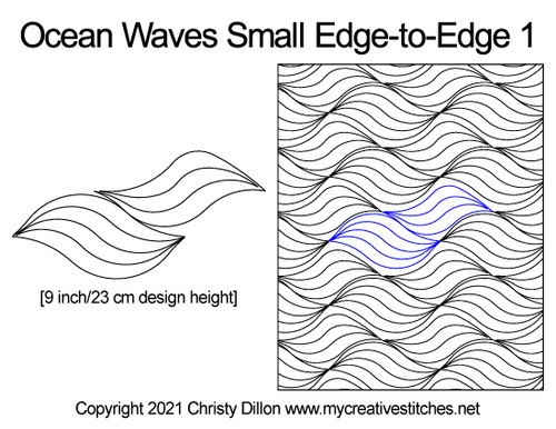 Ocean waves small edge-to-edge digital quilt pattern