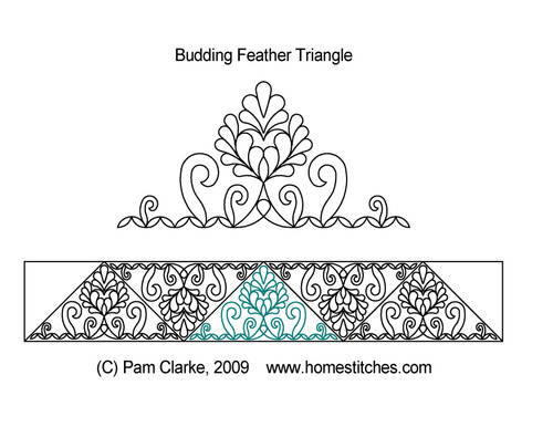 Budding feather quilting designs for triangle