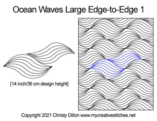 Ocean waves large edge-to-edge digital quilt pattern