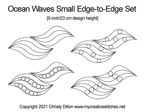Ocean waves small edge-to-edge set digital quilt patterns