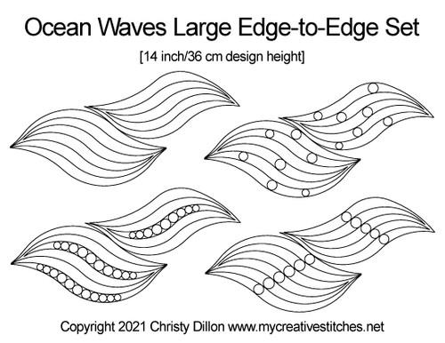 Ocean waves large edge-to-edge set digital quilt patterns