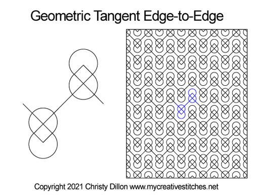Geometric tangent digital quilt pattern edge-to-edge