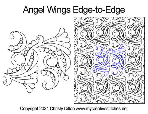 Angel wings digital quilt pattern edge-to-edge