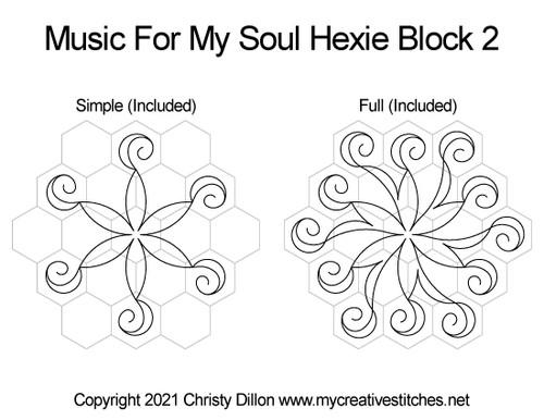 Hexie hexagon music for my soul digital quilt pattern block 2