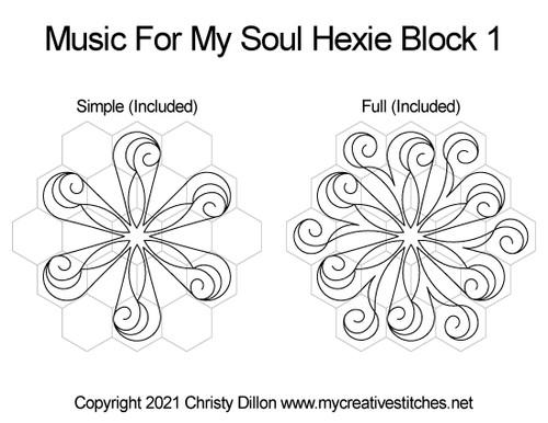 Hexie hexagon music for my soul digital quilt pattern block 1