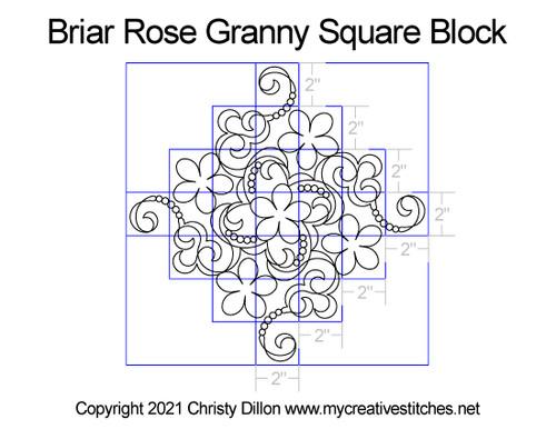 Briar rose granny square quilt block digital pattern