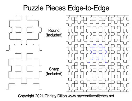 Puzzle pieces edge-to-edge round digital quilt pattern