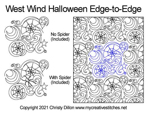 West wind Halloween edge-to-edge digital quilt pattern