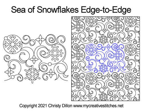 Sea of snowflakes digital quilt pattern