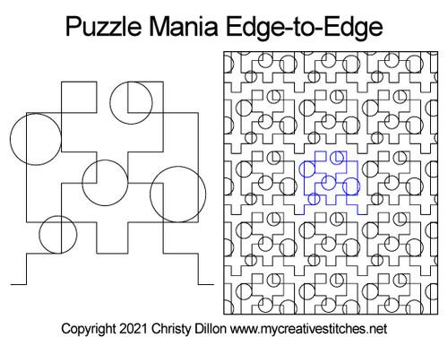 Puzzle mania edge-to-edge digital quilt pattern