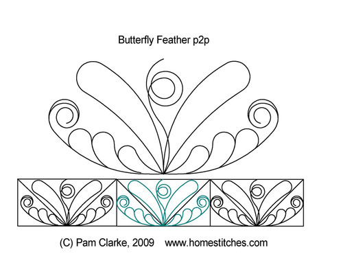 Butterfly feather p2p digital quilt pattern