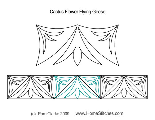 Cactus flower flying geese quilt pattern