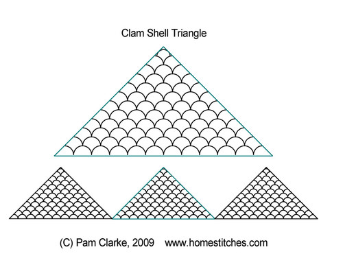 Clam shell quilting design for triangle