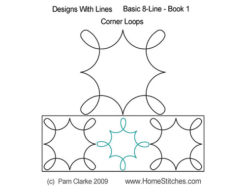Corner loops 8 line digital quilt patterns
