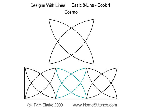 Cosmo design with basic line quilting pattern