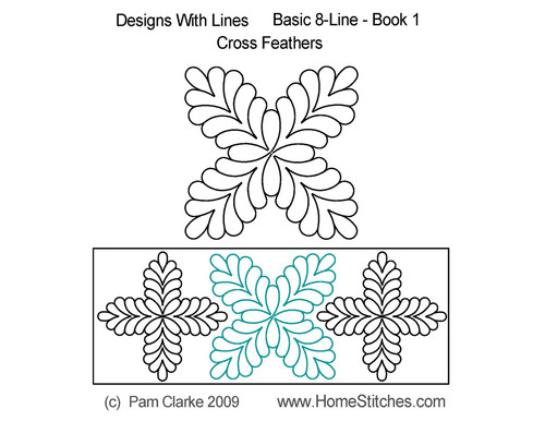 Cross feather design with line quilt pattern