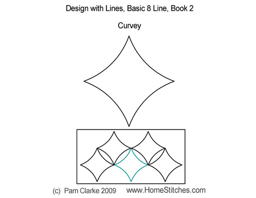 Curvey basic 8 line digitized quilt pattern