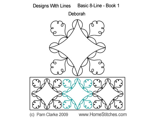 Deborah 8 line design digitized quilting