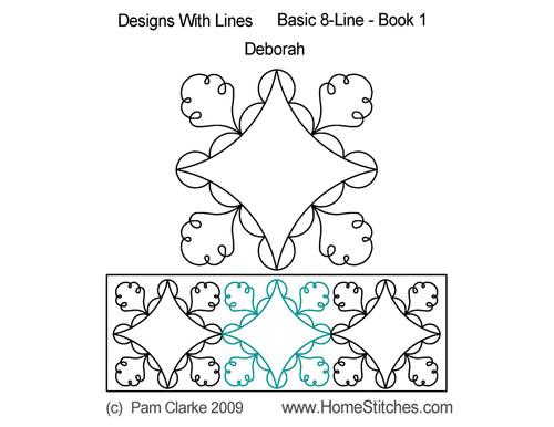 Deborah 8 line design digitized quilting
