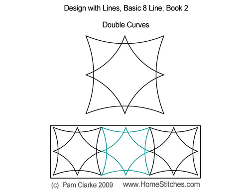 Double curves design with lines quilting