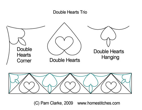 Double hearts trio digital quilt designs